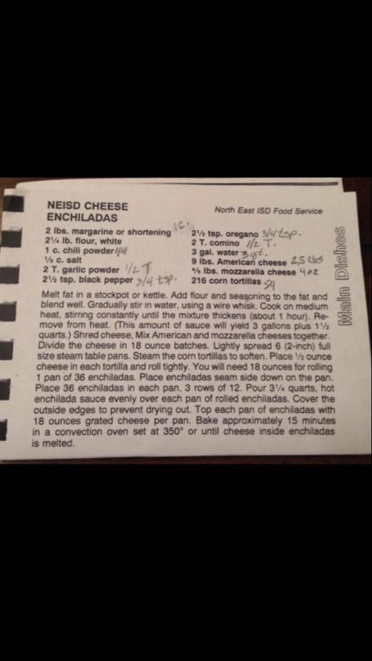 NEISD Cheese Enchilada Recipe | Tex-Mex | Pinterest | Cheese ...