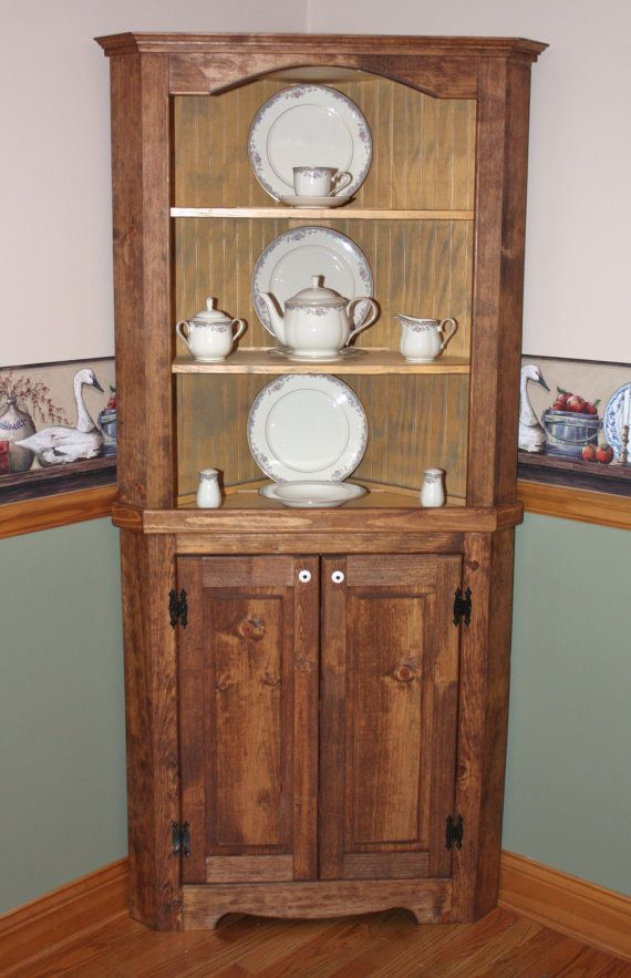 Hutch Curio Corner Rustic Primitive China Cabinet