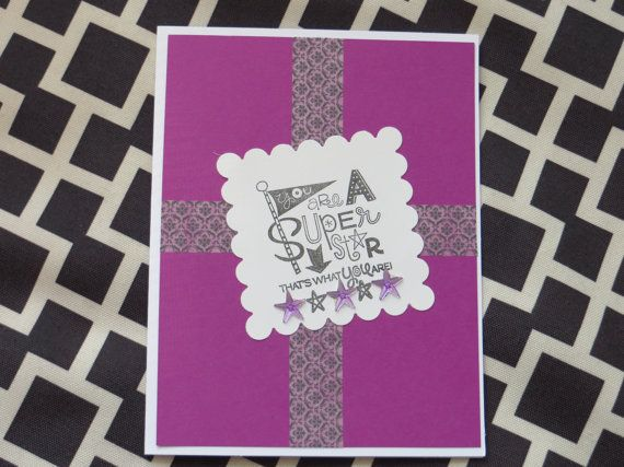 Handmade General Card You're a Super Star by WhyNotTheHedgehog, $4.00