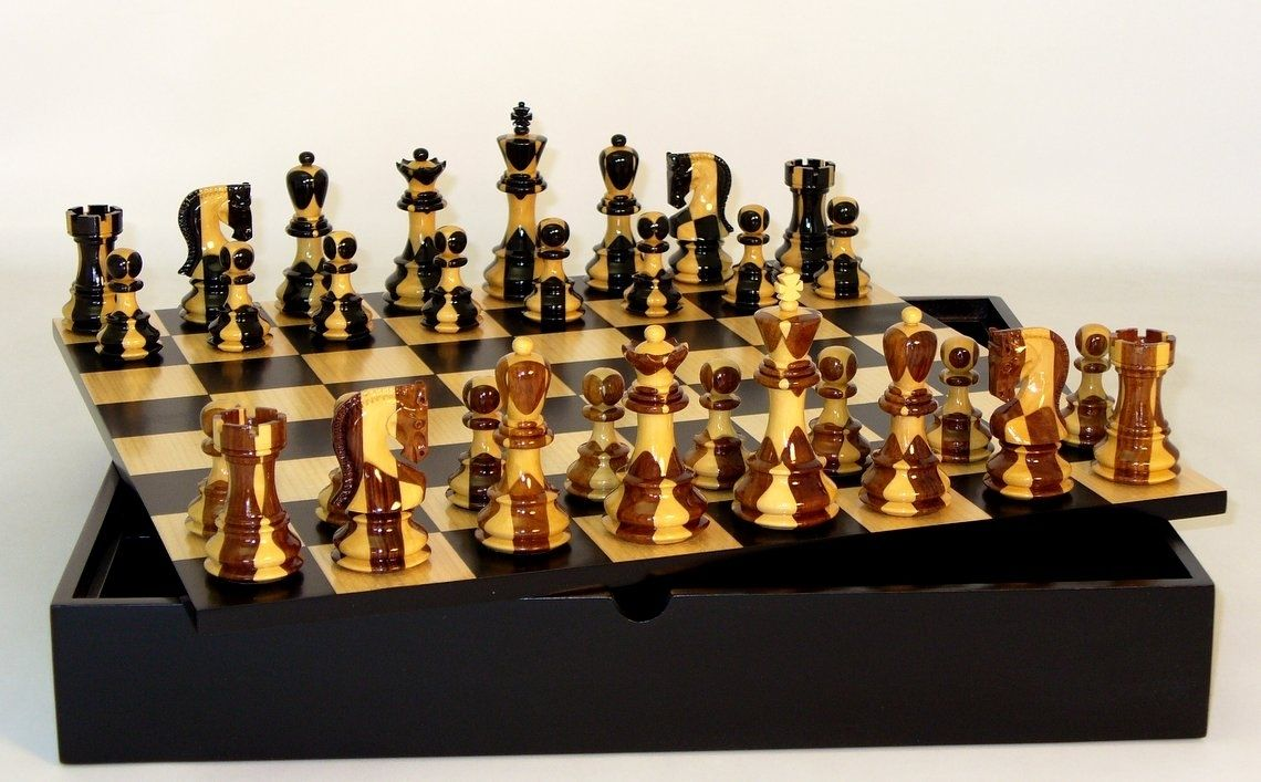 Unique Chess Set Russian Chess Set  Double Weighted  Chess Piece Storage  Chess