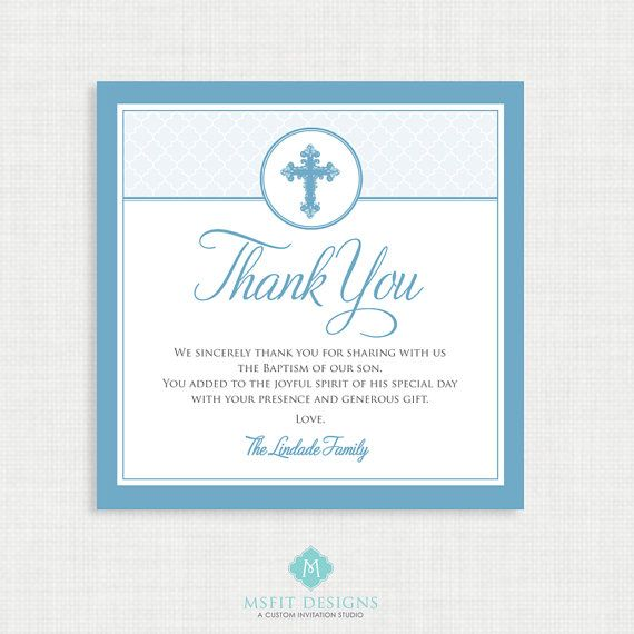 Printable Baptism Thank You Card Diy Printable Thank You Christening First Communion Dedication Baby Blessing Blue Moroccan In 2021 Baptism Thank You Cards Thank You Cards Diy Cards