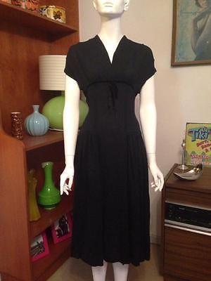 Late 30s Early 40s French Black Velvet Trimmed Dress - Large  http://www.ebay.com.au/usr/fujikawafoxtrot