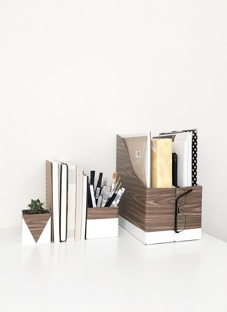 Wood And White Desk Organizers Drawn To Diy 02