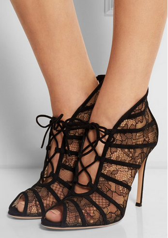 great deals for sale Gianvito Rossi Lace Suede-Trimmed Sandals discount choice footaction sale online iCo4Fid