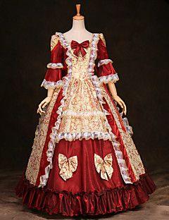 vendita steampunk®top maniche lunghe rossa stampa raso classico abito vittoriano medie reale abiti da festa cospaly lunghi