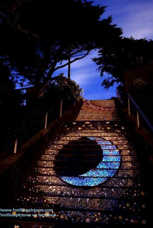 Mosaic street art stairs - San Francisco, California