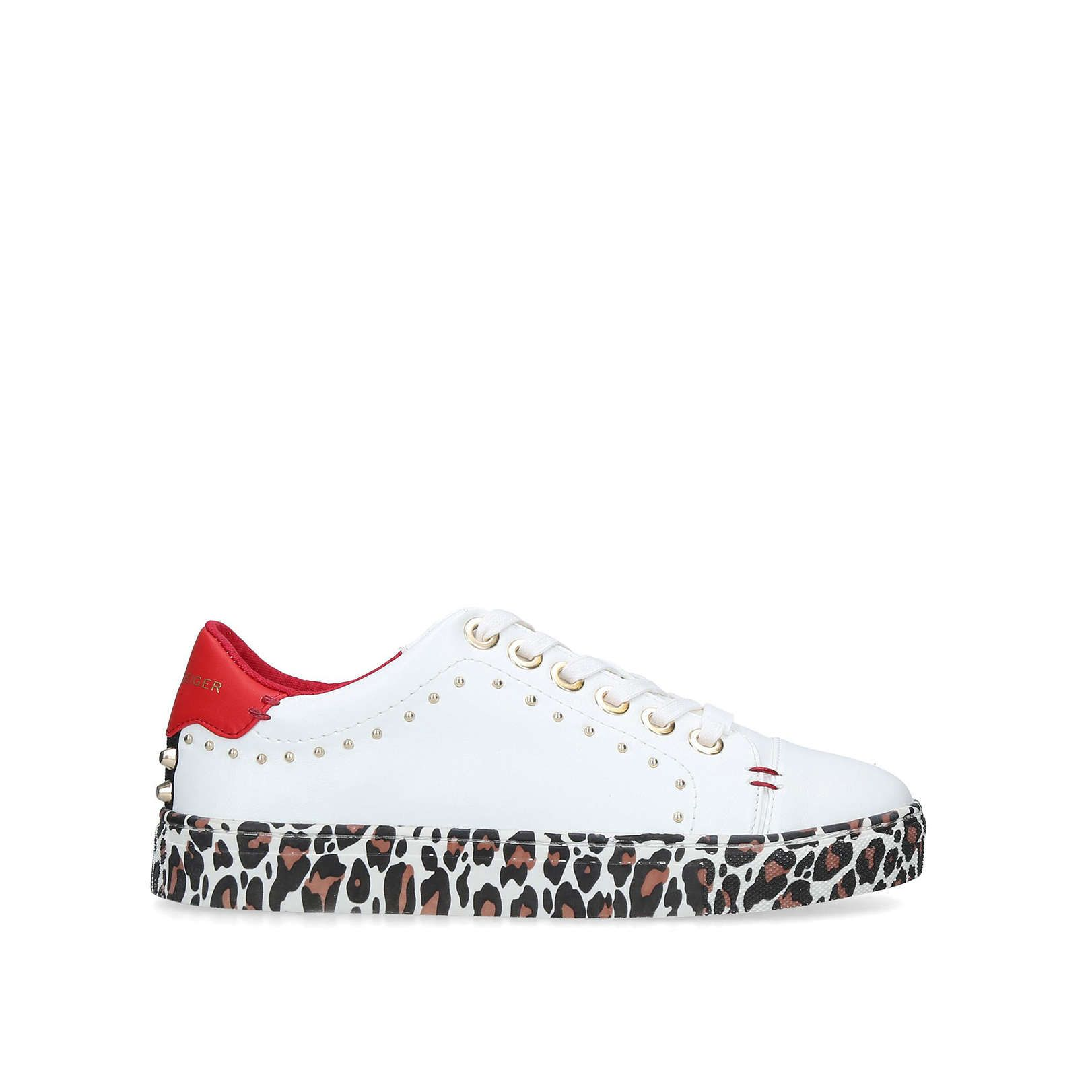 LETTY White And Leopard Print Trainers