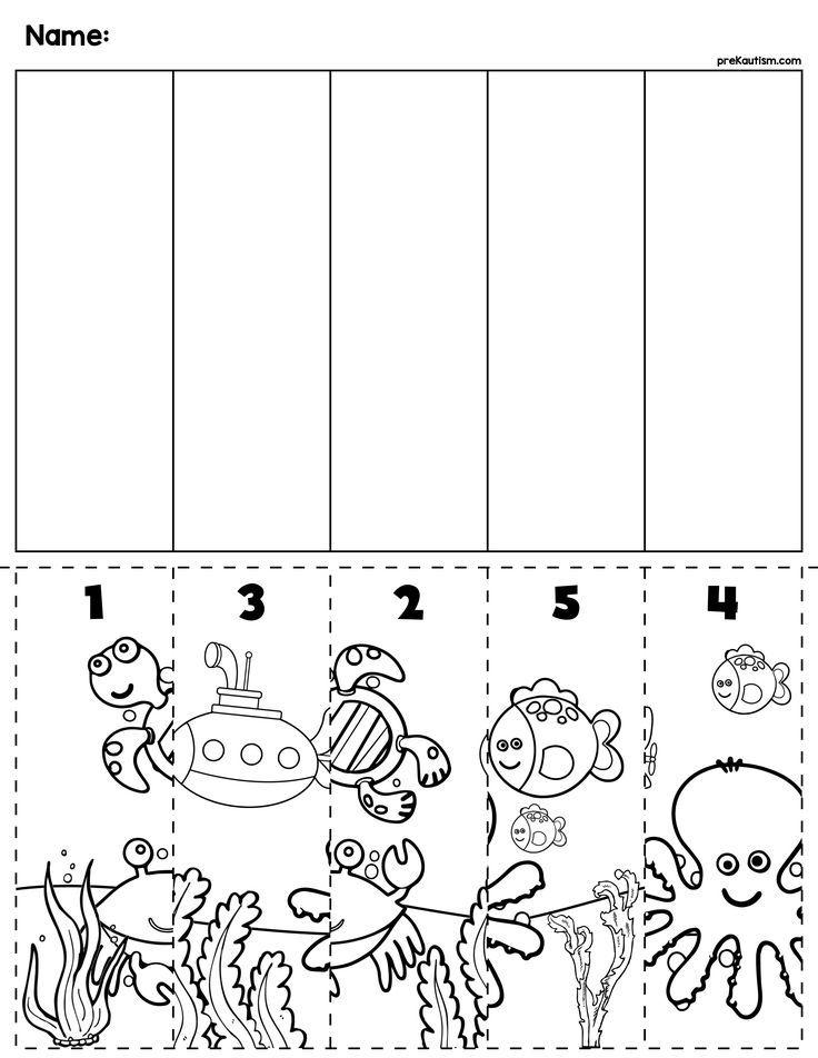 Ocean Scene Number Sequence Puzzle Preschool worksheets