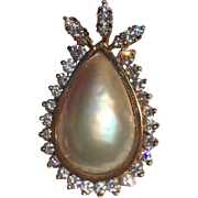 Vintage Estate Mabe Pearl Pendant 1.0cttw VS Fiery Diamonds