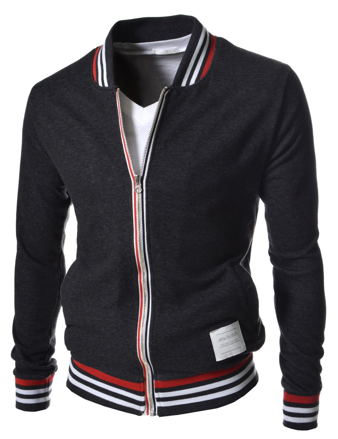 Brand New Slim Fit Baseball Blouson Jackets For Men Accent Stripes At Neck Line And Bottom Front Zipper Closure Outerwea Mens Outfits Men Casual Mens Jackets [ 1430 x 1100 Pixel ]