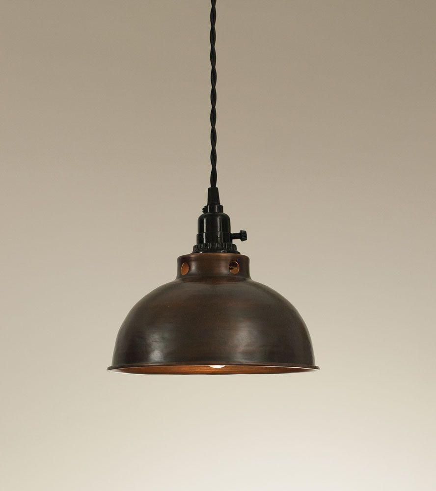 Aged Copper Dome Pendant Lamp Dome Pendant Lighting Metal