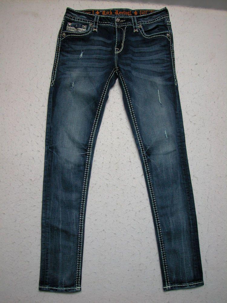 Rock Revival 30 Pilkin Women Jeans MidRise skinny Stretch
