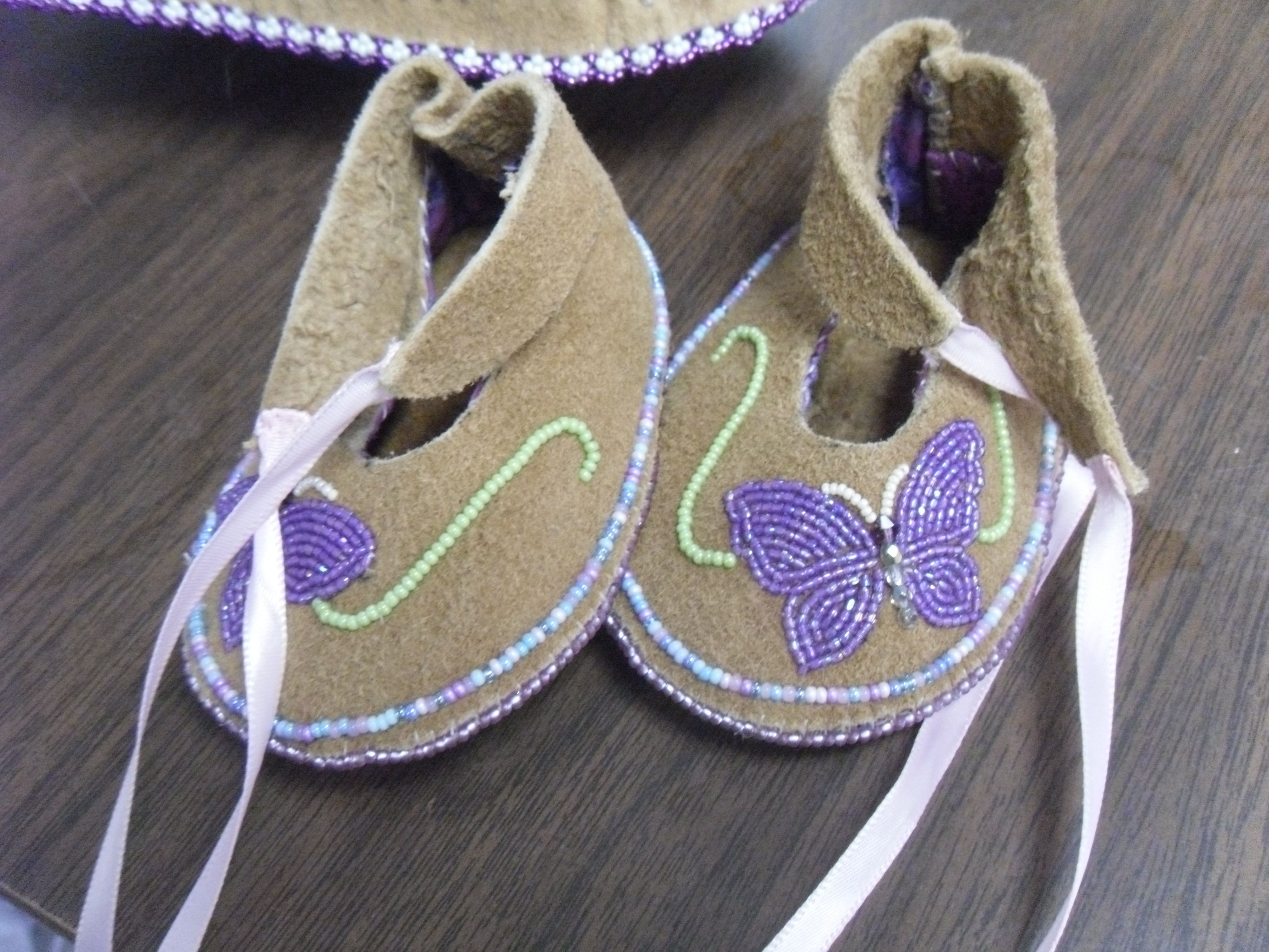 baby girl moccasin slippers on moosehide Alaska native beadwork by