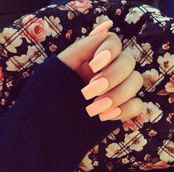 Matte Peach Pink Square Tip Acrylic Nails | Nail Art | Pinterest