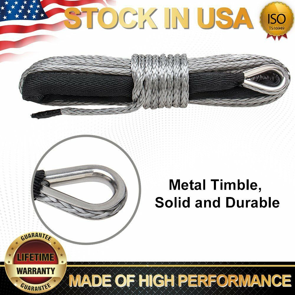 Ebay Sponsored New 1 4 X 50 Synthetic Winch Rope Line Grey Recovery Cable 8200 Lbs Atv Suv 4wd Winch Rope Synthetic Winch Rope Winch