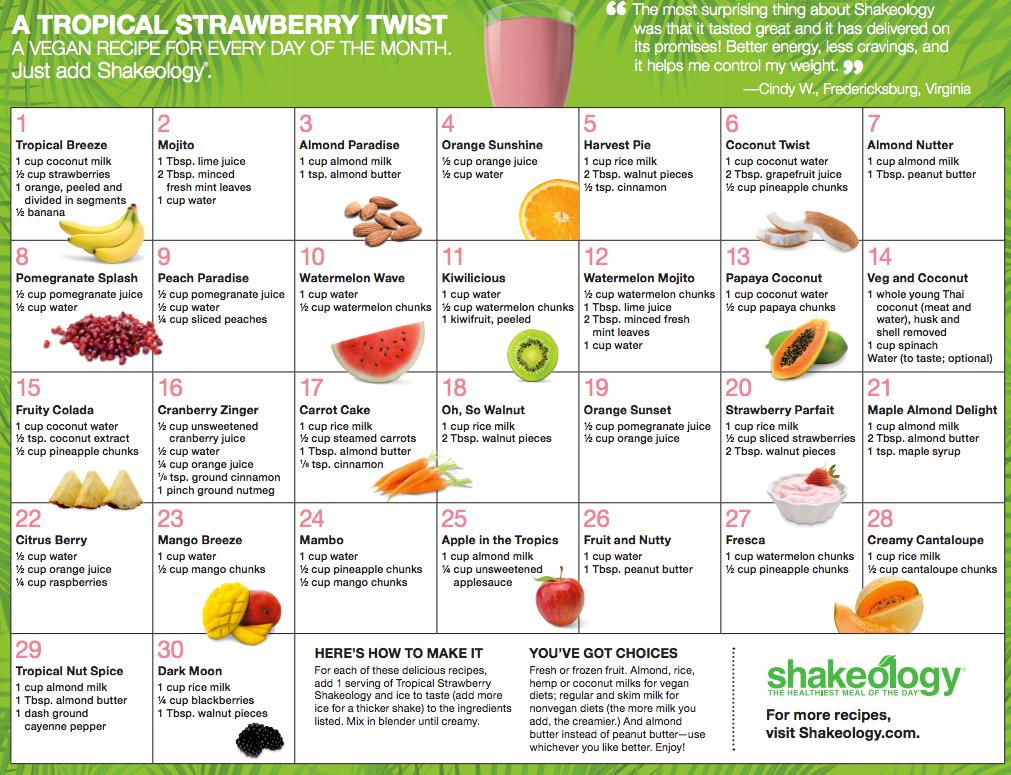 shakeology Vegan Strawberry calendar Recipes