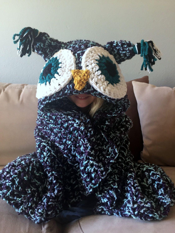 Crochet hooded owl blanket pattern owl blanket blanket and owl hooded owl blanket owl hood crochet blanket handmade afghan owl pillow bankloansurffo Images