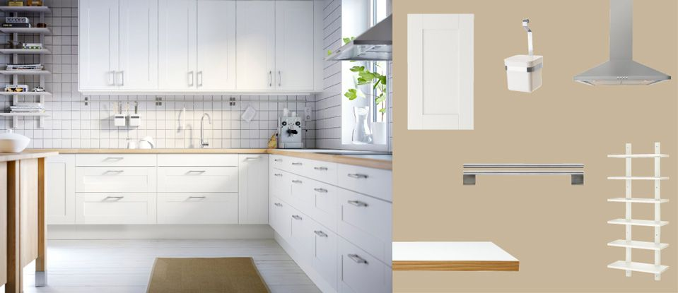 FAKTUM kitchen with ÄDEL off-white doors/drawers and NUMERÄR ...