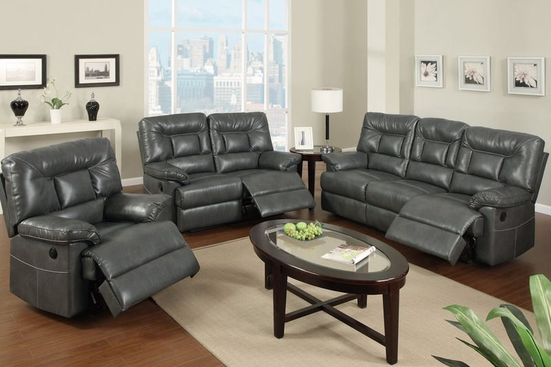 Modern Gray Leather Reclining Sofa Loveseat Motion Couch Living