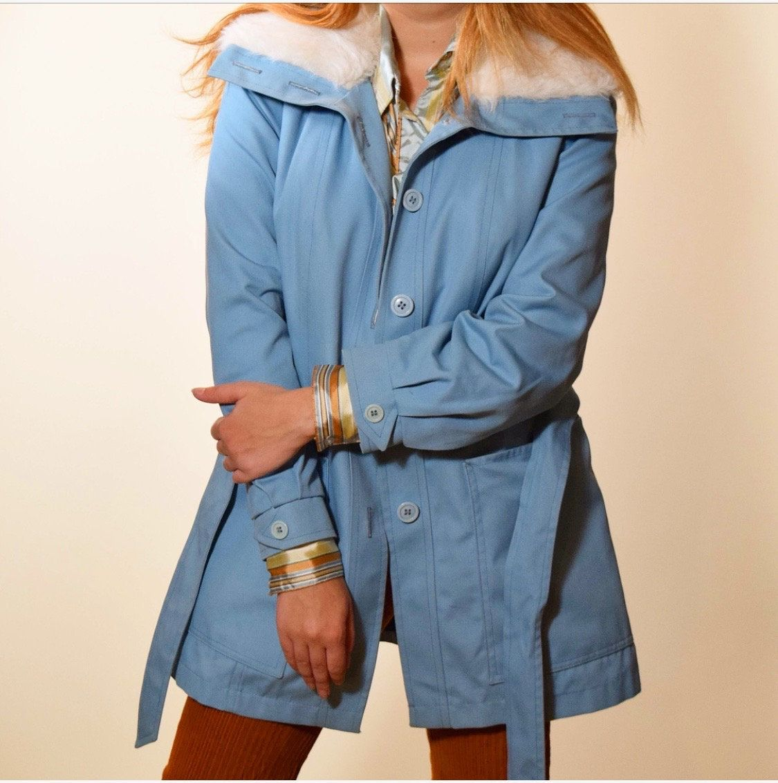 Classic Mod Baby Blue Coat With Faux Fur White Collar Authentic Vintage 1960s Lined With Faux Fur Inside Body Satin Line Baby Blue Coat White Faux Fur Coat