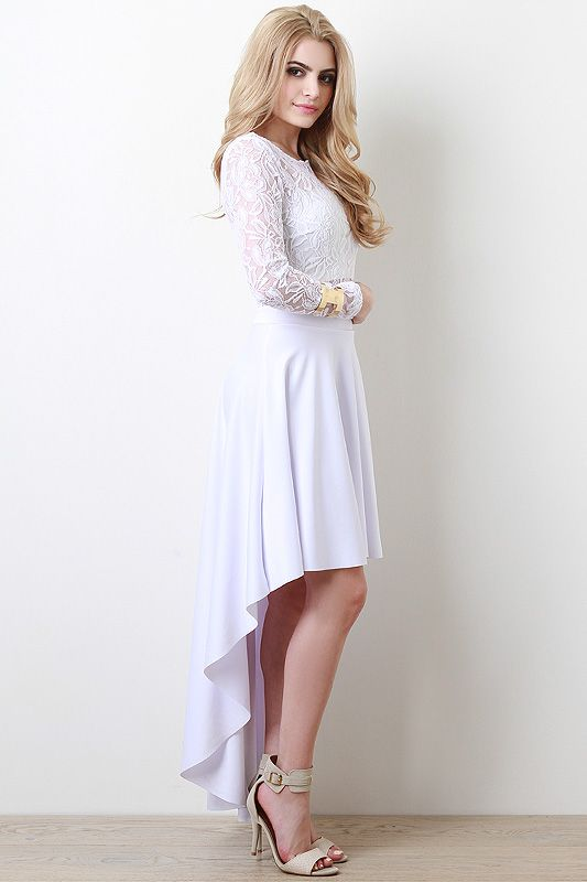 Lace High Low Twofer Dress