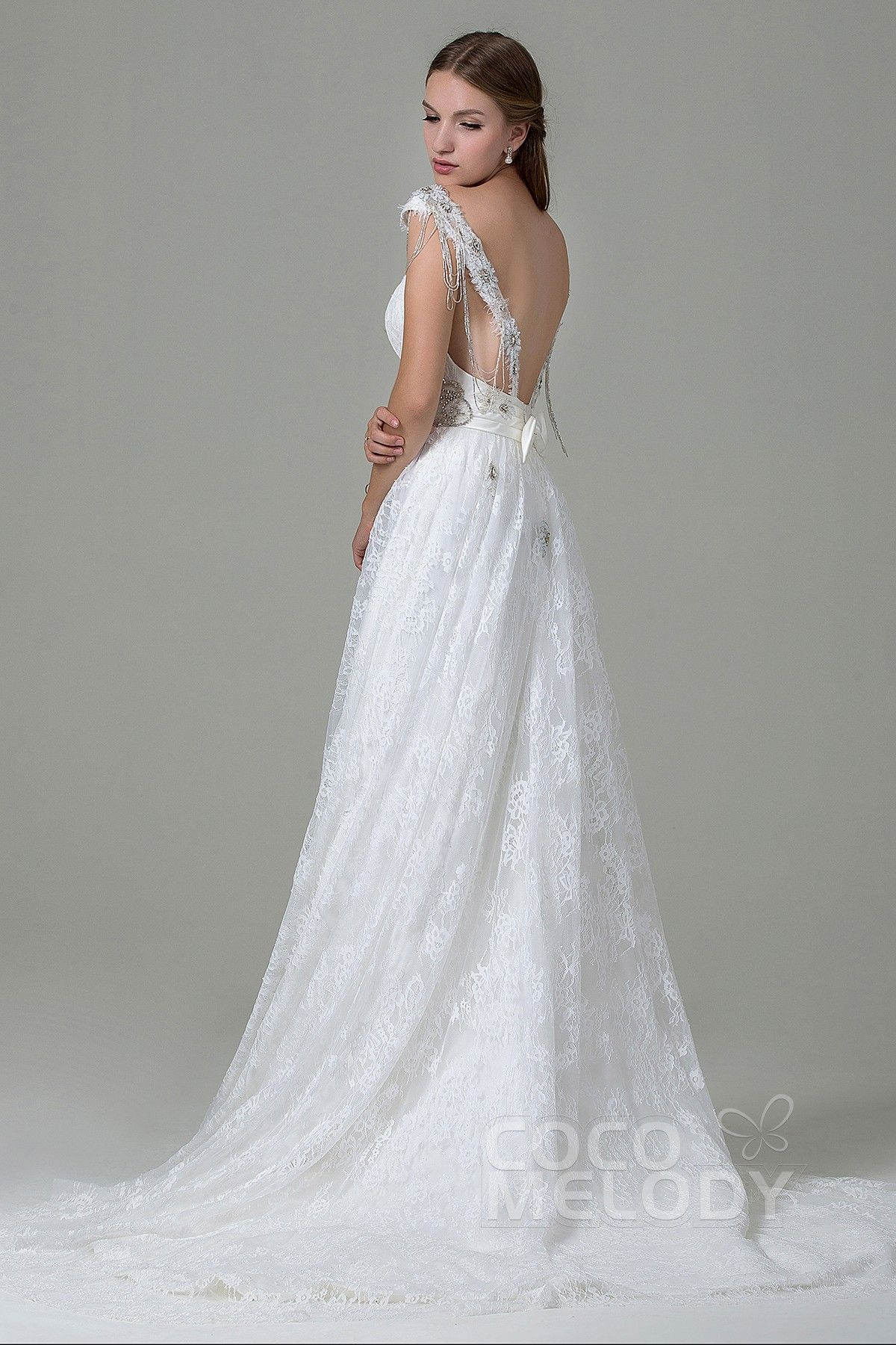 d4e344124d Classic Sheath-Column Straps Natural Train Lace Ivory Wedding Dress with  Beading and Bowknot LWZT140B8