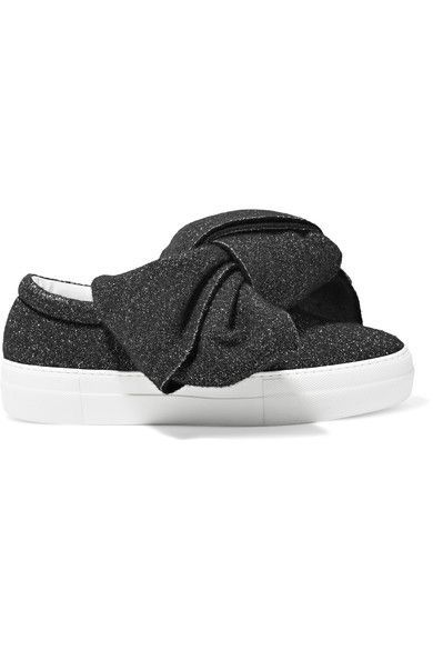 3f1fa168b644 Joshua Sanders - Knotted Glittered Lurex Slip-on Sneakers - Black ...