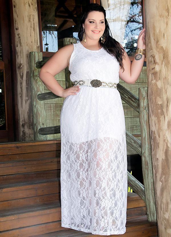 d45eb812d9 Vestido Longo com Renda Branco Miss Masy Plus - BGO Company