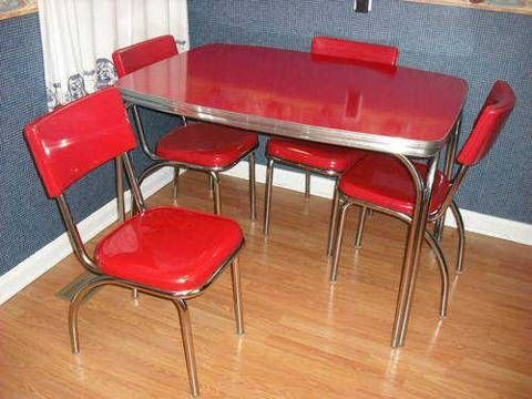 Chrome Dinette Chairs original 1950s red formica & chrome dinette set table and four
