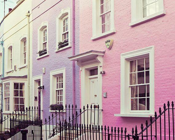 Chelsea Houses London Photography London Art Print Pastel Wall Art Travel Photography Purple Pink Wall Decor Chelsea Girls Pastel House Pink Houses London Art