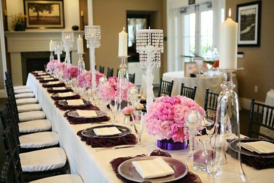 Bridal Shower Table Settings Black And White With A Burst Of Color