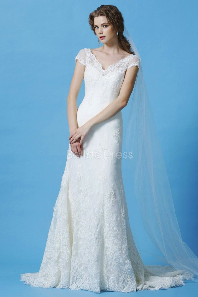 Short lace wedding dress with train  V Back V Neck A line Lace Panel Train Wedding Dress  Wedding