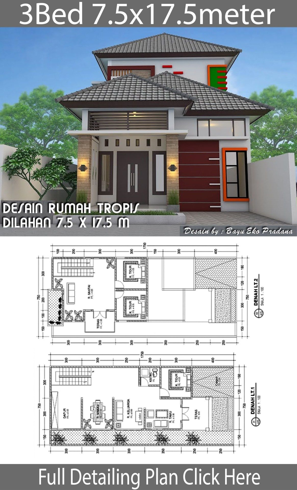 Home Design Plan 7 5x17 5m With 3 Bedrooms Home Design With Plansearch House Design Home Design Plan House Designs Exterior