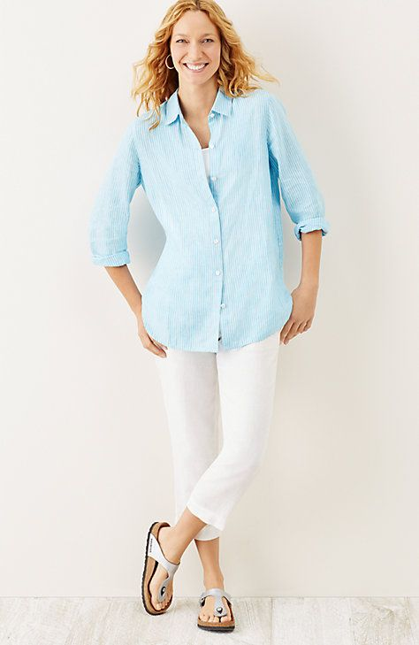 striped linen big shirt