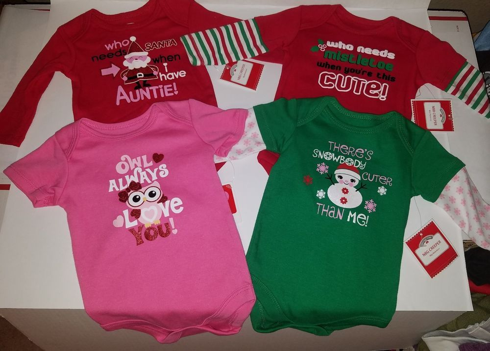 infant girls 0 3 months creeper set lot of 4 christmas valentines 1p rompers nwt