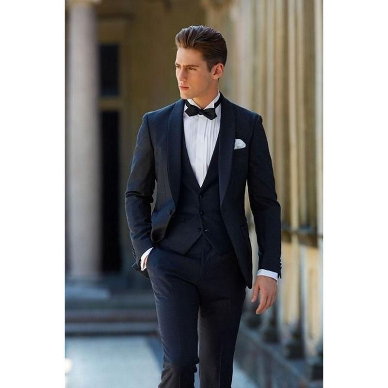 2017 Latest Coat Pant Designs Navy Blue Men Suit Groom Tuxedo Slim ...