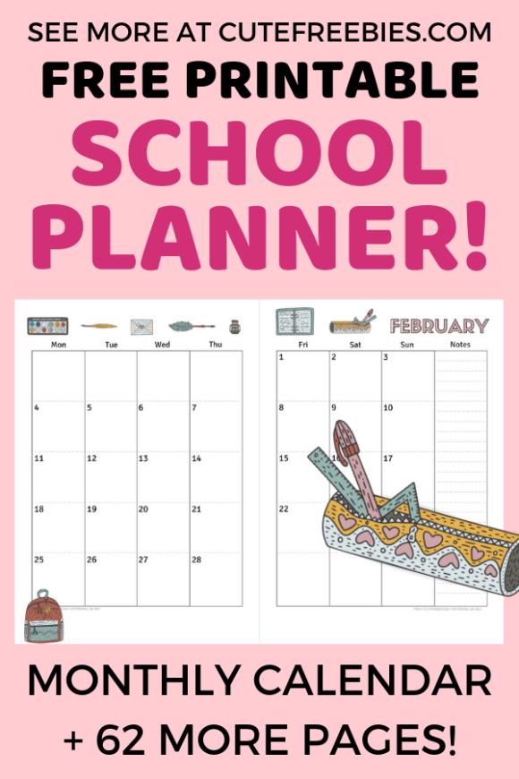 Free 2020 Calendar Printable Planner PDF #teacherplannerfree