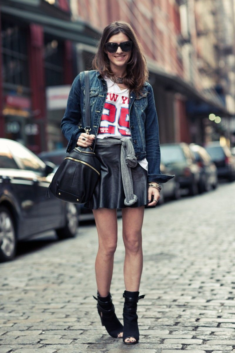 Super Bowl Style - How to Make a Sports Jersey Look Chic - denim jacket  over a jersey + leather skater skirt and peep toe ankle boots 78a8ec140