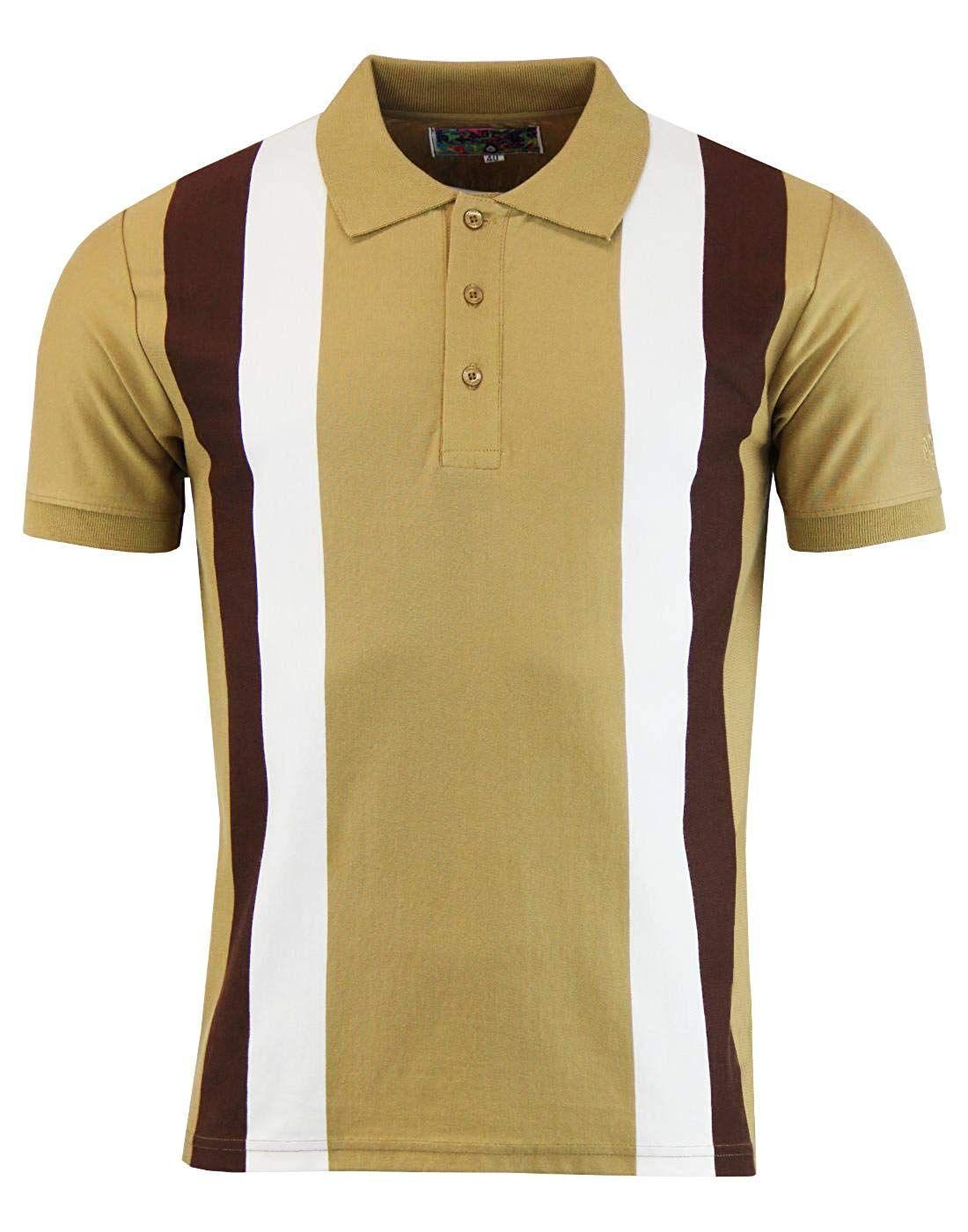 7baa363dff2613 Men's Vintage Style Shirts Madcap England Moody Mens 60s Mod Stripe Panel  Polo in Caramel