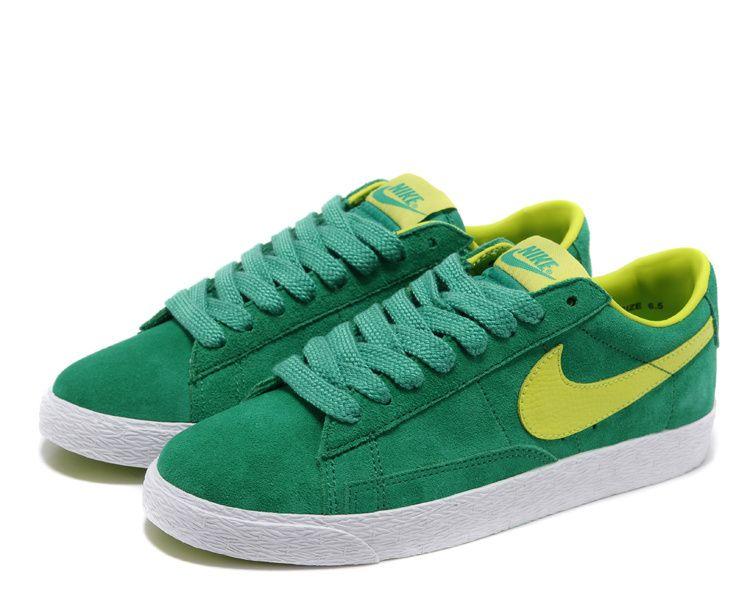 Women Nike Blazer Low Yellow Green Shoes