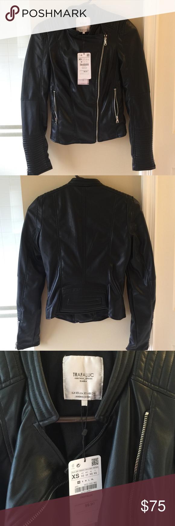 Leather jacket xs - Zara Leather Jacket Size Xs Gorgeous Zara Trafaluc Leather Jacket With Silver Zipper Detailing And Black