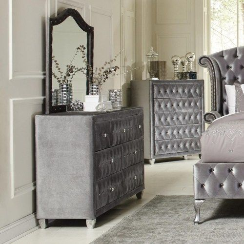 coaster deanna upholstered dresser with six drawers and faceted buttons coaster fine furniture