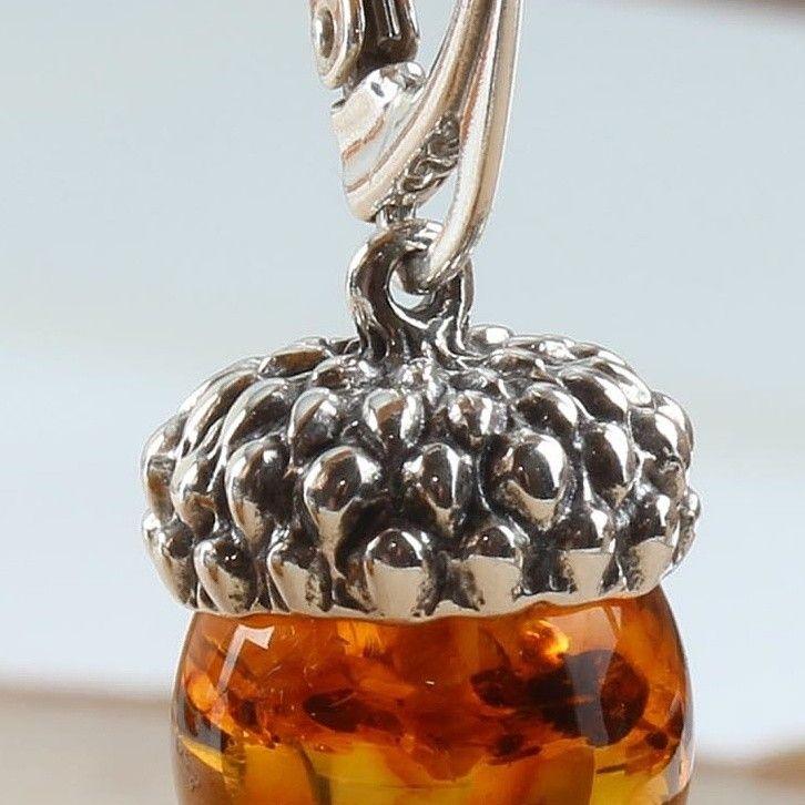 78fbdcf64 Baltic Amber Acorn Earrings Sterling Silver in 2019   Earrings from ...