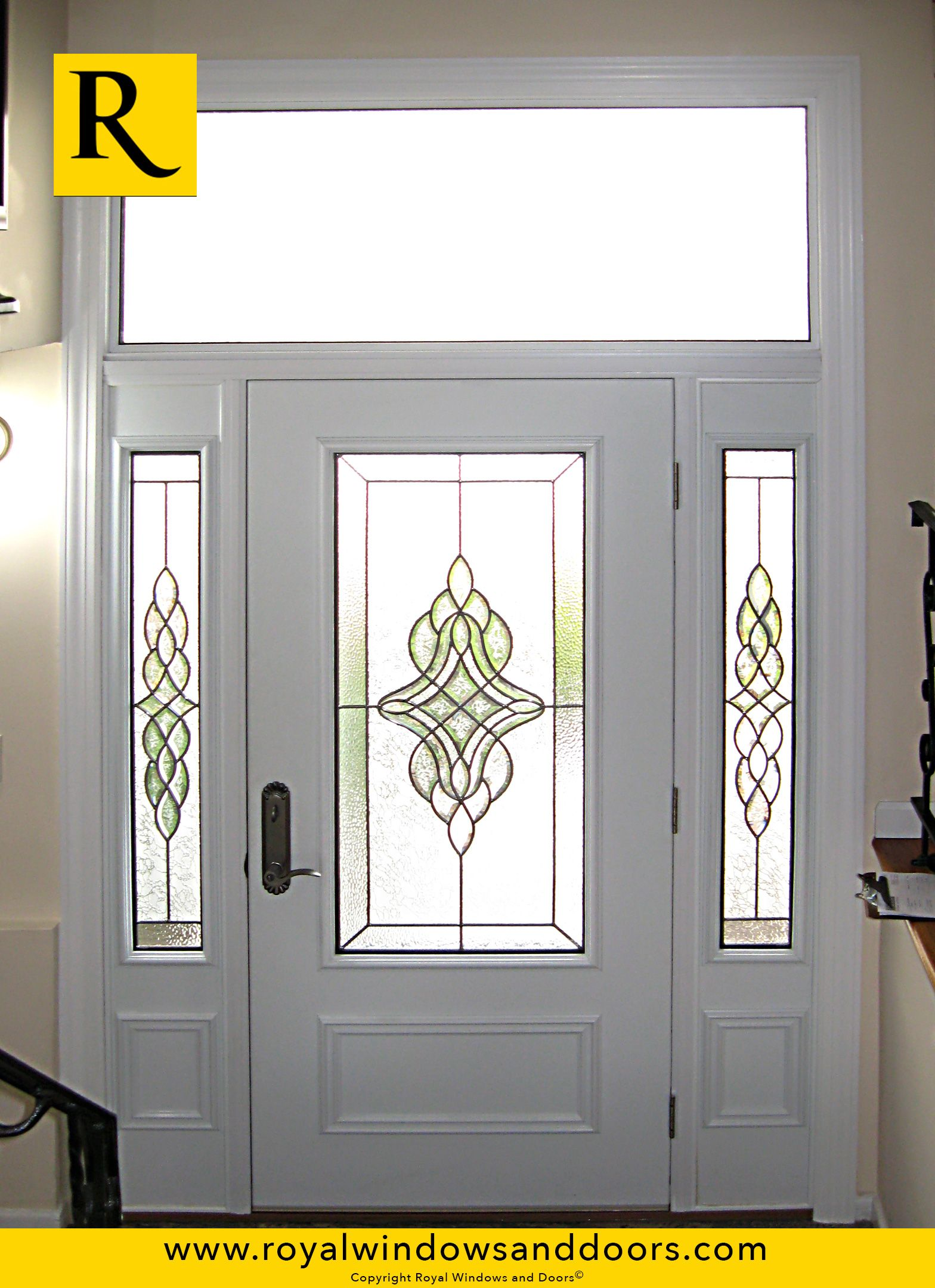 Single entry door two side lites transom white finish for Single entry door with glass
