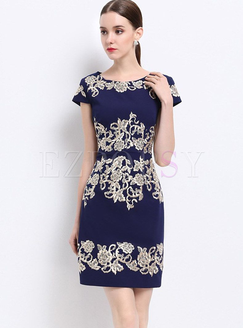 Vintage Embroidered Short Sleeve Bodycon Dress Backless Prom Dresses Bodycon Dress Bodycon Dress With Sleeves [ 1066 x 789 Pixel ]