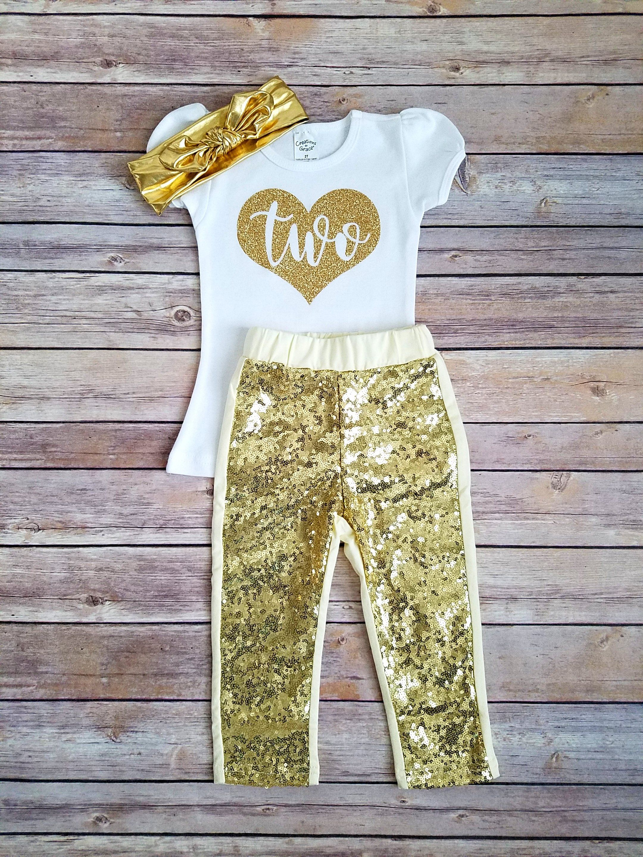 aaaf2bb79 Second Birthday Outfit Girl Gold 2nd Birthday Outfit   Products