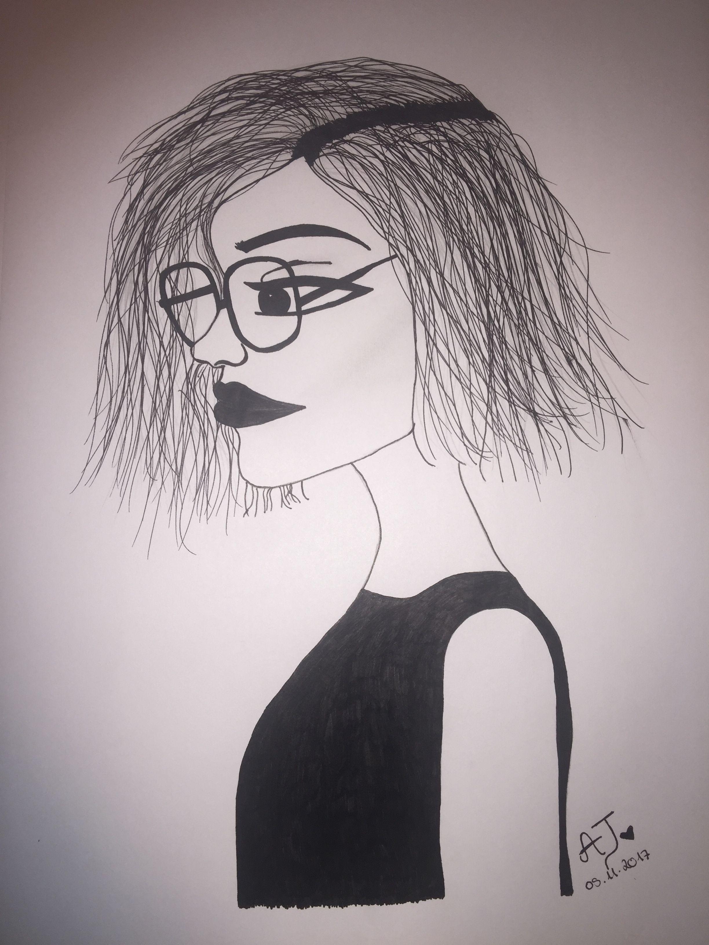 Mädchen mit brille zeichnung diy girl glasses pencil drawing s