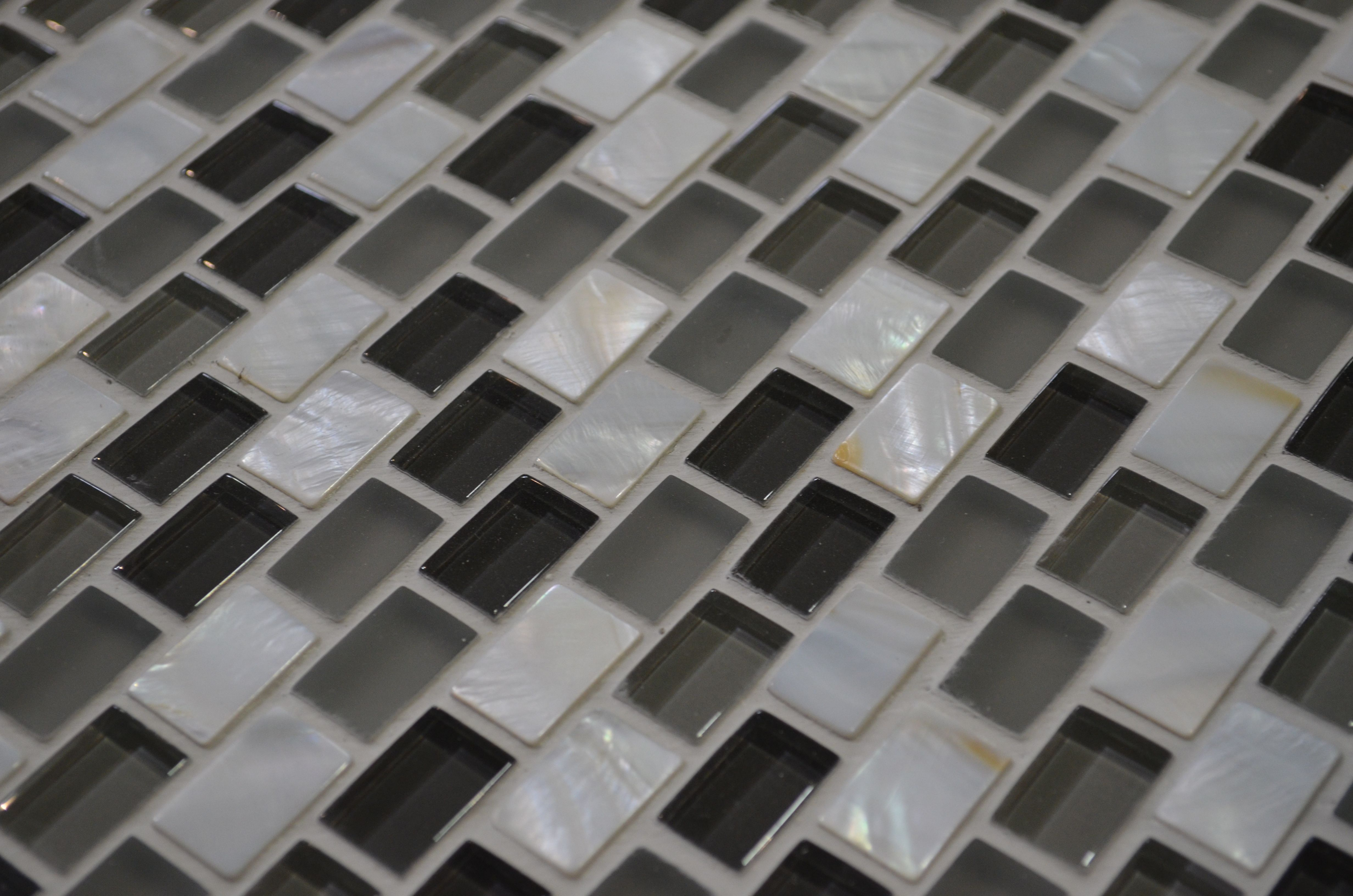 Mother Of Pearl Glass Mosaic Makes For Sleek Kitchen Or
