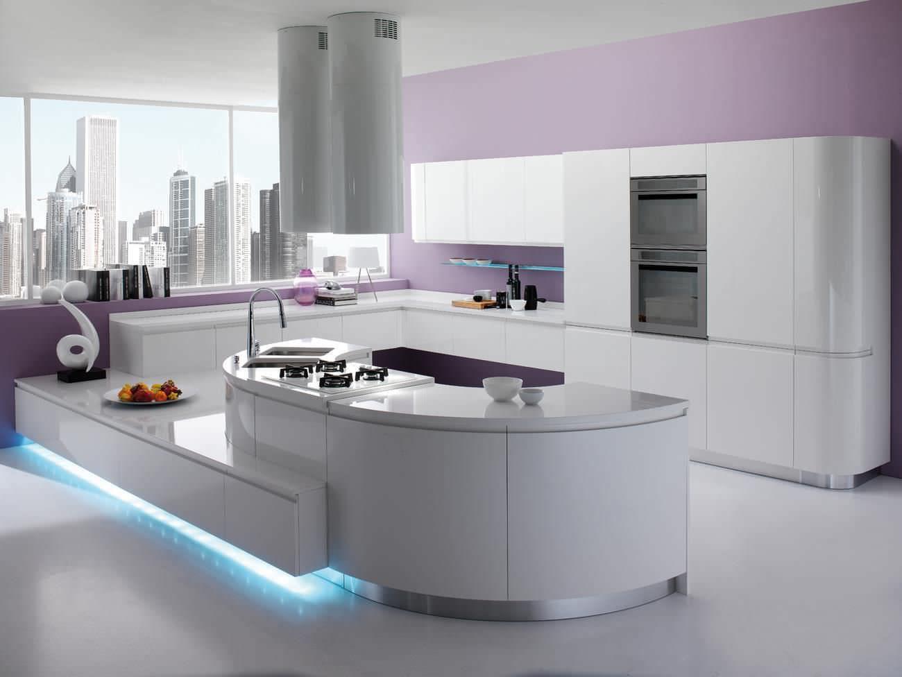 cuisine contemporaine en bois avec lot laqu e. Black Bedroom Furniture Sets. Home Design Ideas