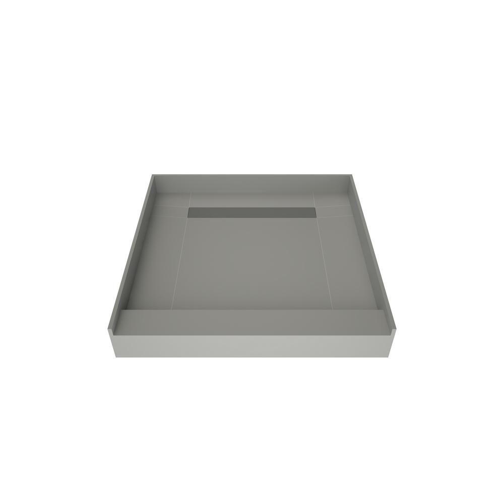 Redi Trench 48 In X 48 In Single Threshold Shower Base In Gray